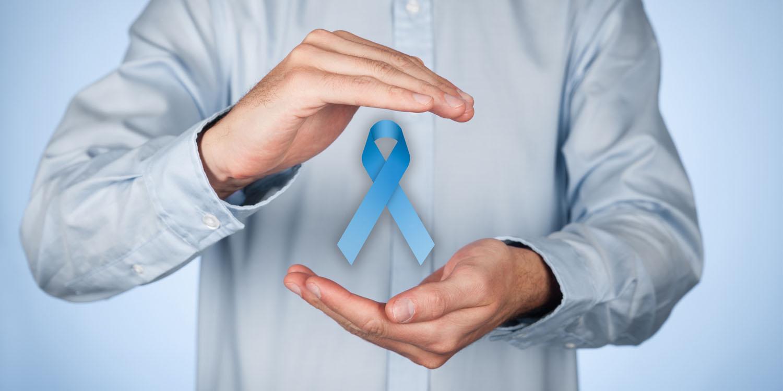 man holding prostate cancer awareness ribbon